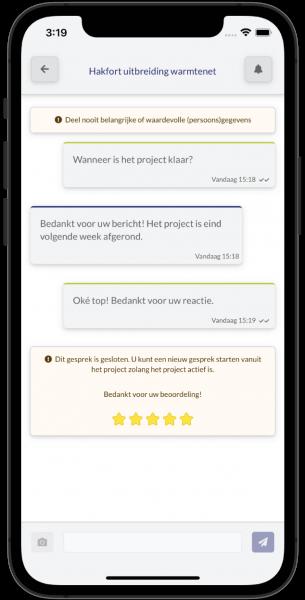 Chatgesprek in de Omniom App