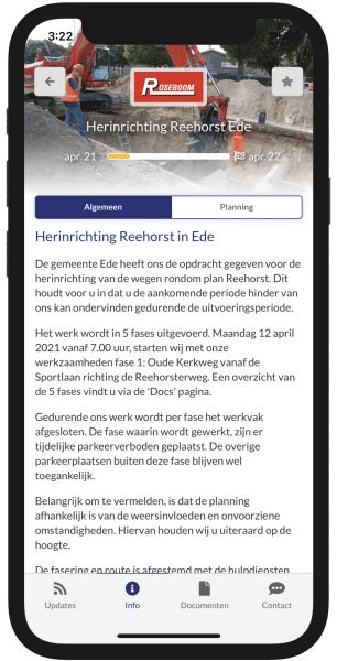 Projectinfo in de Omniom App