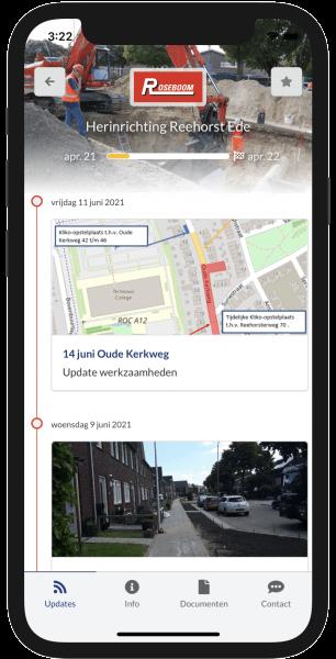 Tijdlijn in de Omniom App